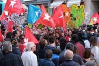 Bloco em manifestação na rua
